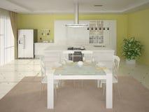 rendição 3D da cozinha moderna Ilustração do Vetor