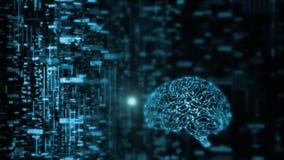 a rendição 3D da inteligência artificial AI está operando-se com dados abstratos Circuito de incandescência do cérebro ilustração do vetor