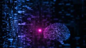 a rendição 3D da inteligência artificial AI está operando-se com dados abstratos Circuito de incandescência do cérebro ilustração stock