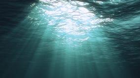 a rendição 3D da luz subaquática cria uma cortina solar bonita As ondas de oceano subaquáticas oscilam e fluem com os raios do li fotos de stock