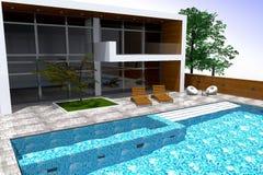 rendição 3D da mansão moderna Foto de Stock
