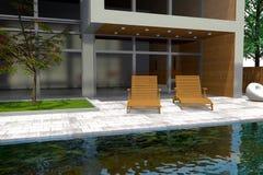 rendição 3D da mansão moderna Fotografia de Stock Royalty Free