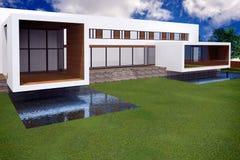 rendição 3D da mansão moderna Imagens de Stock