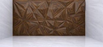 rendição 3D da parede de madeira do polígono na sala de mármore Imagens de Stock