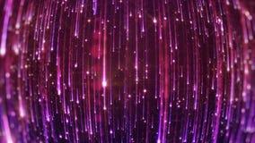 rendição 3D da queda de partículas brilhantes Starfall em um fundo escuro com asteriscos brilhantes e incandescendo Imagem de Stock Royalty Free