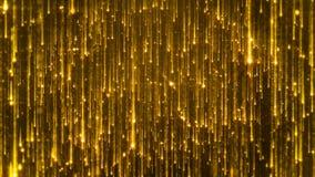 rendição 3D da queda de partículas brilhantes Starfall em um fundo escuro com asteriscos brilhantes e incandescendo Imagens de Stock Royalty Free