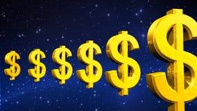 rendição 3D da rotação circular de símbolos do dólar do ouro ilustração royalty free