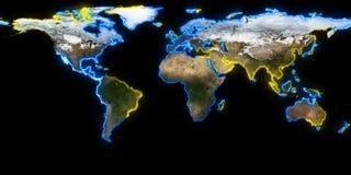 rendição 3d da terra do planeta Você pode ver continentes, cidades Elementos desta imagem fornecidos pela NASA Fotografia de Stock