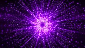 rendição 3D das partículas que recolhem no centro do espaço virtual Uma explosão brilhante de uma estrela feita das partículas Fotografia de Stock Royalty Free