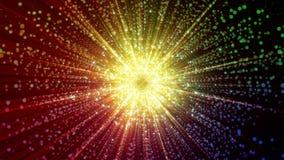 rendição 3D das partículas que recolhem no centro do espaço virtual Uma explosão brilhante de uma estrela feita das partículas Fotografia de Stock