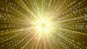 rendição 3D das partículas que recolhem no centro do espaço virtual Uma explosão brilhante de uma estrela feita das partículas Imagem de Stock