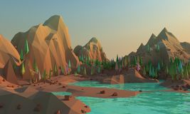 rendição 3d de baixas montanhas e água polis do whith da paisagem no primeiro plano ilustração stock