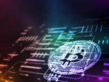 rendição 3D de Bitcoin BTC no esquema conduzido abstrato de incandescência dos dados e do circuito Para o mercado de moeda cripto ilustração royalty free