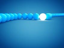 rendição 3d de bolas do azul e da luz com dof Foto de Stock Royalty Free