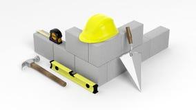 rendição 3D de ferramentas e de tijolos da alvenaria ilustração royalty free