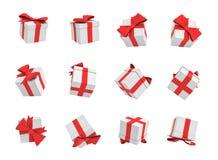 rendição 3d de muitas caixas de presente brancas que voam no fundo branco em vistas diferentes Imagens de Stock Royalty Free