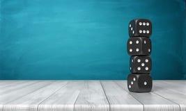 a rendição 3d de quatro dados pretos com pontos brancos está em se em uma coluna em uma mesa de madeira em um fundo azul Foto de Stock