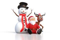 rendição 3D de Santa Claus que senta-se em uma terra com boneco de neve e Fotografia de Stock Royalty Free