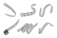 a rendição 3d de seis diafilmes diferentemente colocados colocados dobrou-se em um fundo branco ilustração royalty free
