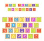 rendição 3d de um alfabeto colorido com letras de escrita de Toy Blocks Alphabet sobretudo Imagens de Stock Royalty Free