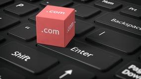 rendição 3D de um cubo com COM text Imagens de Stock