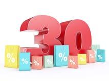rendição 3D de um disconto de 30 por cento Fotos de Stock Royalty Free