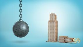 rendição 3d de um ferro preto que destrói a bola que pendura ao lado de um prédio de escritórios quebrado com um sinal de USD em  Fotos de Stock Royalty Free