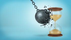 rendição 3d de um grande ferro preto que destrói rupturas da bola quando colidir com uma ampulheta retro no fundo azul Imagens de Stock Royalty Free