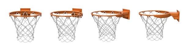rendição 3d de um grupo feito de quatro cestas do basquetebol com o suporte alaranjado do laço e da fixação ilustração do vetor