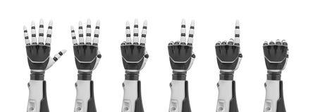 rendição 3d de um grupo de mãos robóticos mostradas da parte traseira do punho a diversos dedos que colam para fora ilustração stock