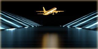 rendição 3d de um objeto dourado dentro de uma estrada futurista Fotografia de Stock Royalty Free