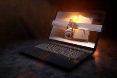 rendição 3D de um portátil protegido com um cofre-forte dourado como o tela de computador Fotografia de Stock Royalty Free