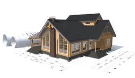 rendição 3D de um projeto da casa Foto de Stock Royalty Free