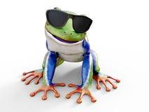 rendição 3D de um sunglasse vestindo de olhos avermelhados realístico da rã de árvore Foto de Stock Royalty Free