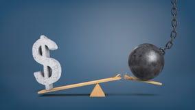 rendição 3d de uma balancê de madeira com um sinal de dólar concreto overweighing e uma bola de destruição que quebre a prancha Imagem de Stock Royalty Free