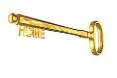 rendição 3D de uma chave da casa do vintage no branco foto de stock