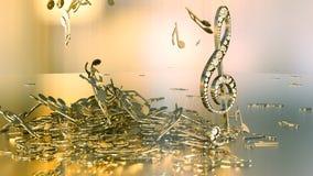 rendição 3D de uma clave de sol musical e de umas notas de queda Fotografia de Stock Royalty Free