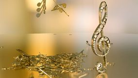 rendição 3D de uma clave de sol musical e de umas notas de queda Imagem de Stock