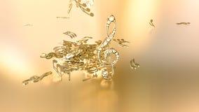 rendição 3D de uma clave de sol musical e de umas notas de queda Imagens de Stock