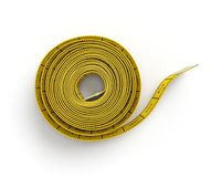 rendição 3d de uma fita métrica amarela costurar flexível em um estado desenrolado completo em um fundo branco fotografia de stock