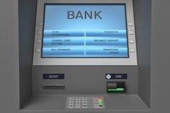 rendição 3d de uma máquina do ATM com seu painel da tela e do botão em uma vista próxima ilustração stock