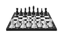 rendição 3d de uma placa de xadrez com um conjunto completo de figuras na posição começar ilustração do vetor