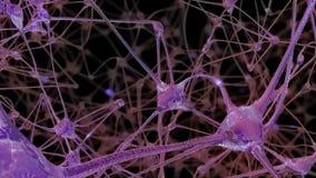a rendição 3D de uma rede de pilhas do neurônio e de sinapses no cérebro através de que impulsos bondes e descarrega a passagem ilustração do vetor