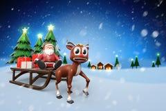 rendição 3d de uma rena pequena bonito com assento de Santa Claus Fotografia de Stock