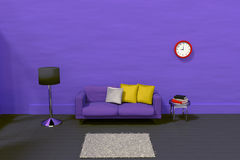 rendição 3D de uma sala roxa Foto de Stock Royalty Free