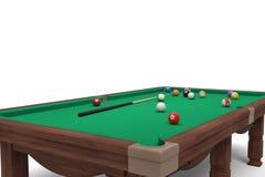 rendição 3d de uma tabela de bilhar isolada na vista lateral com um conjunto completo de varas e de bolas em sua superfície Fotos de Stock Royalty Free