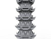 rendição 3d de uma torre asiática do pagode isolada no fundo branco do estúdio ilustração do vetor