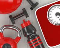 rendição 3d do abanador dos pesos, da escala, do kettlebell e do gym Imagem de Stock Royalty Free