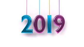 Rendição 3d do ano 2019 Imagens de Stock Royalty Free