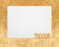 Rendição 3d do ano novo 2018 da cor do ouro com o greetin branco vazio Imagens de Stock Royalty Free